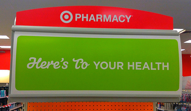 What are the Best Pre-Pharmacy Schools. Red and green sign on pharmacy section target